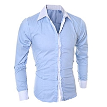 Fashion Personality Men's Casual Slim Long-sleeved Shirt Top Blouse - Blue   M