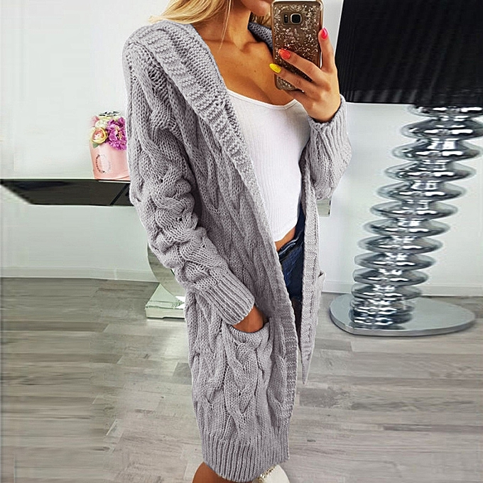 51471917dbba Africanmall store Women Long Sleeve Oversized Loose Knitted Sweater Cardigan  Outwear Coat -Gray ...