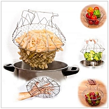 12-in-1 Chef Basket, Yummy Sam Stainless Steel Foldable Steam Rinse Strain Fry Basket Strainer Net Kitchen Cooking Tool for Fried Food or Fruits Chef Basket Colander