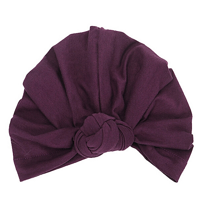 ddebdba7b Newborn Girls Boys Knotted India Hat Cotton Sleep Cap Headwear Hat-Purple