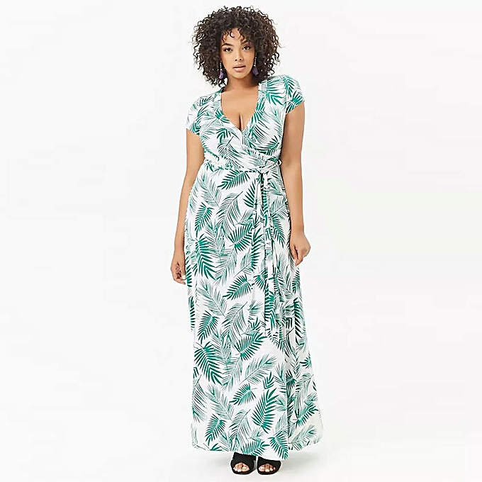 339b43ae927 Fashion Women s Deep V Neck Bodycon Floral Printed Casual Maxi Dress  Printed Wrap Dress With Short Sleeves