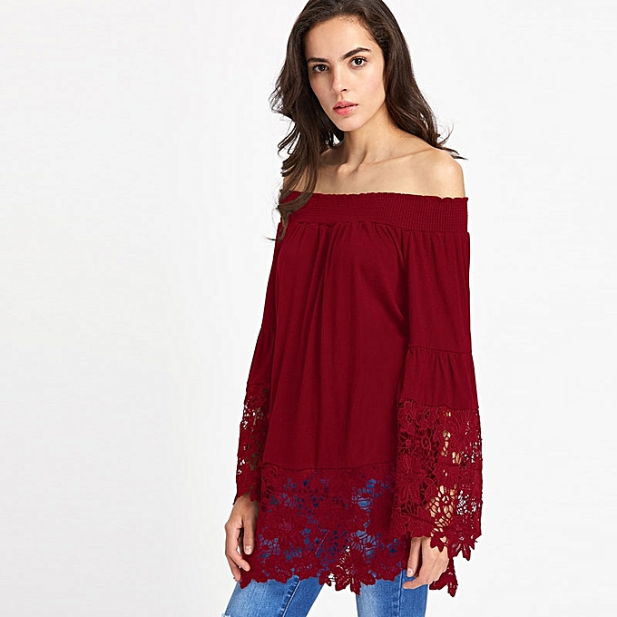 6a389ca92c63 Generic Ladies Long sleeve Off The Shoulder Lace Top-Maroon @ Best ...
