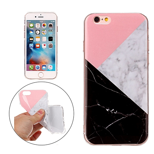 the latest df8ae 90f20 For iPhone 6s Plus and 6 Plus Pink Black Color Matching Marble Pattern Soft  TPU Protective Case