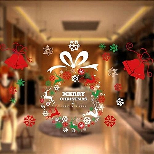 Buy UNIVERSAL Removable Shop Glass Window Sticker Christmas Wreath ...