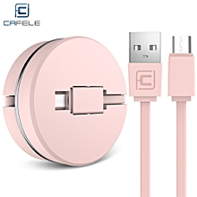 Circular Cover Stretchable Micro USB Data Charging Cable 1M - Pink