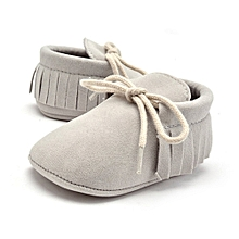 soft sole leather baby shoes solid cream 3-4t