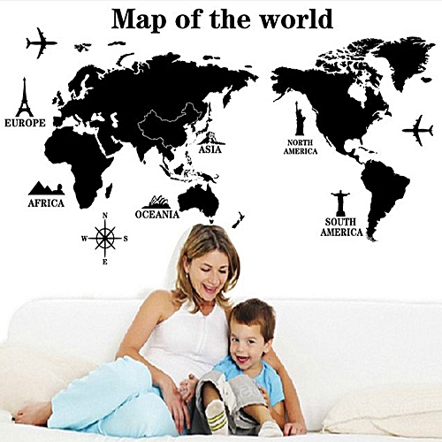 The map of the world pvc transparent film wall stickers black