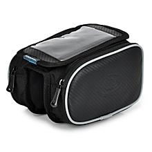 Bike Front Tube Bag W/ Transparent Cellphone Bag - Black