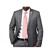 2 Pcs Men's Ash Grey Slim Fit Suit