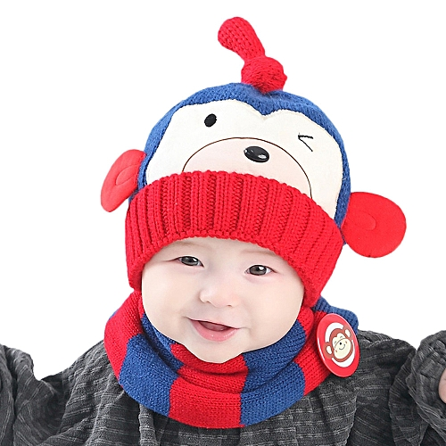 635f80671aaf Generic jiuhap store Baby Boys Girls Kids Cartoon Monkey Hat+Scarf ...