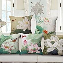 Honana WX-D1 45x45cm Vintage Lotus Flower Cotton Linen Throw Pillow Case Waist Cushion Cover