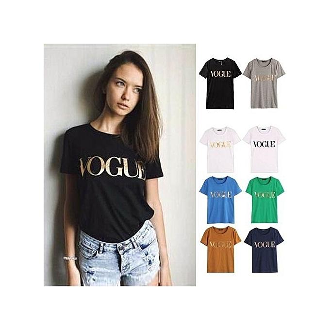 d9c07944855d S-4XL Fashion Plus Size T Shirt Tops Femme VOGUE Pringting Casual Tee Shirt