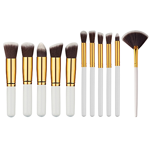 e960e5bf1a37 10 Pcs Silver/Golden Makeup Brushes Set pincel maquiagem Cosmetics  maquillaje Makeup Tool Powder Eyeshadow Cosmetic Set(11 White gold)