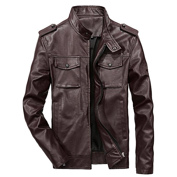 5b4f02b09 QIQICHEN Men's Casual PU Leather Jacket-DEEP BROWN