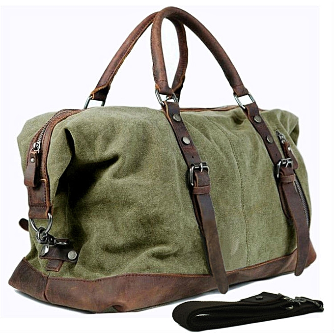 8284a238de8c Canvas Leather Men's Travel Bag Hand Luggage Bag Carry On Large Men Leather  Duffle Bag Tote Big Weekend Bag Overnight( green)