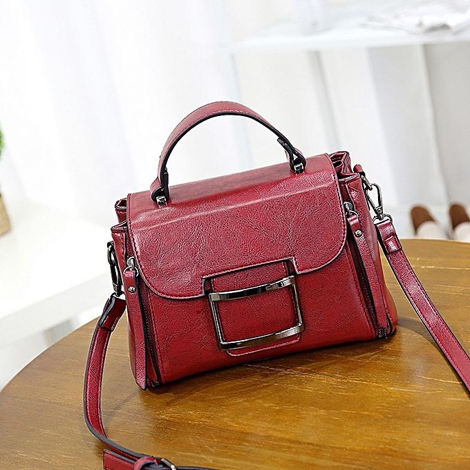 edc3cb1333 Vintage Women Crossbody Bag Solid PU Leather Flap Cover Zipper Satchel Messenger  Shoulder Bag