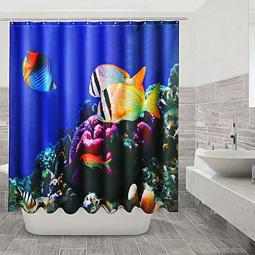 Generic Seabed Scenery Waterproof Bathroom Shower Curtain Polyester Fiber 180180cm