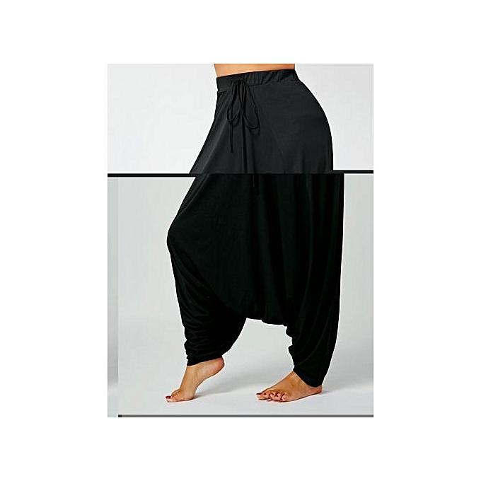 11a09c5f63f Fashion Drawstring Drop Bottom Plus Size Harem Pants   Best Price ...