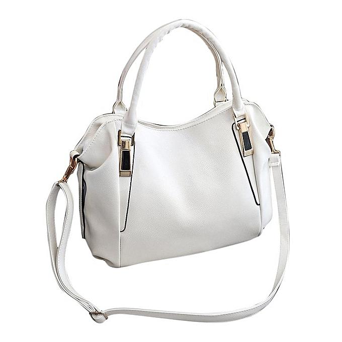 f75974b60f Women Handbag College Style Shoulder Bag Tote Purse PU Leather Messenger Bag  white