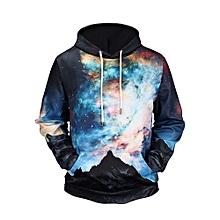 bluerdream-Men's Autumn Winter Printed Long Sleeve Hooded Sweatshirt Tops Blouse BK/L- Black