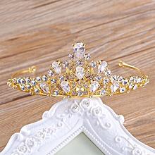 Wedding Bridal Zircon Rhinestones Crystal Tiara Crown Pageant Prom Headband Gold