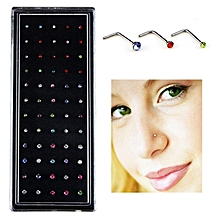 60PCS Color Mixed Diamond Stainless Steel Nose Stud Rings L Shaped Piercing Jewelry,Pin Length: 7mm, Pin Diameter: 0.6mm (Colour)