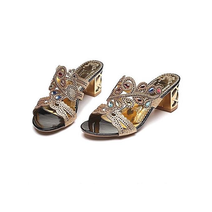 ee7e75f3c22f5f ... Blicool Shop Women Sandals Summer Fashion Women Girl Big Rhinestone  Heel Sandals Ladies Sparkling Slipper- ...
