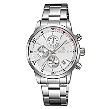 Silver Mens Stainless Steel Watch With White Dial