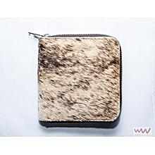 Ladies Ciru Wallet - Made In Kenya , 100% Genuine Leather  - Brown And White