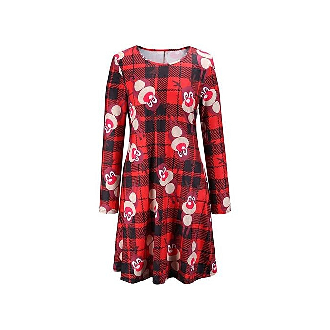 72b3926e9007 RanickenWomen Long Sleeve Lattice Deer Christmas Xmas Flared Dress S -Red