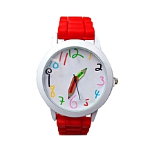 Fashion Quartz Unisex Boys And Girl's Beautiful Students All-Match Watch-Red