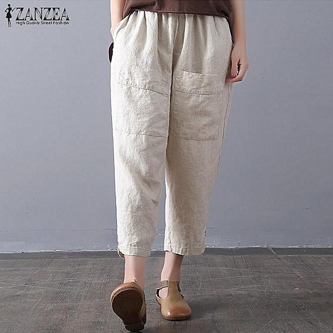 9908ab6c4ed ZANZEA Women Summer Vintage Wide Leg Elastic Waist Cropped Harem Pants  Trousers