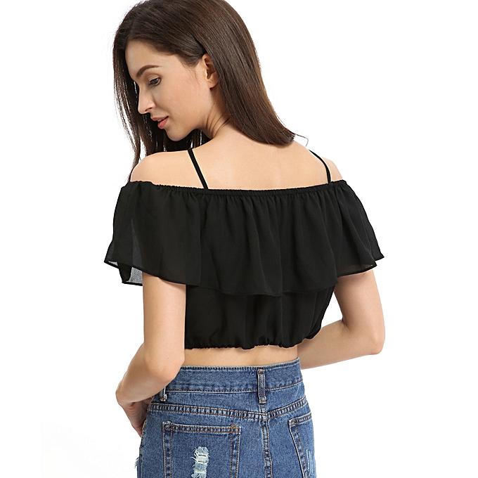 fa399653a8b2be ... New Fashion Women Chiffon Crop Top Off the Shoulder Tie Neck Elastic  Trim Cropped Top Black ...