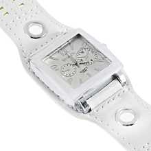 Women Girl Mens Sport Leather Quartz Movement WristWatch Watches Square Face-White