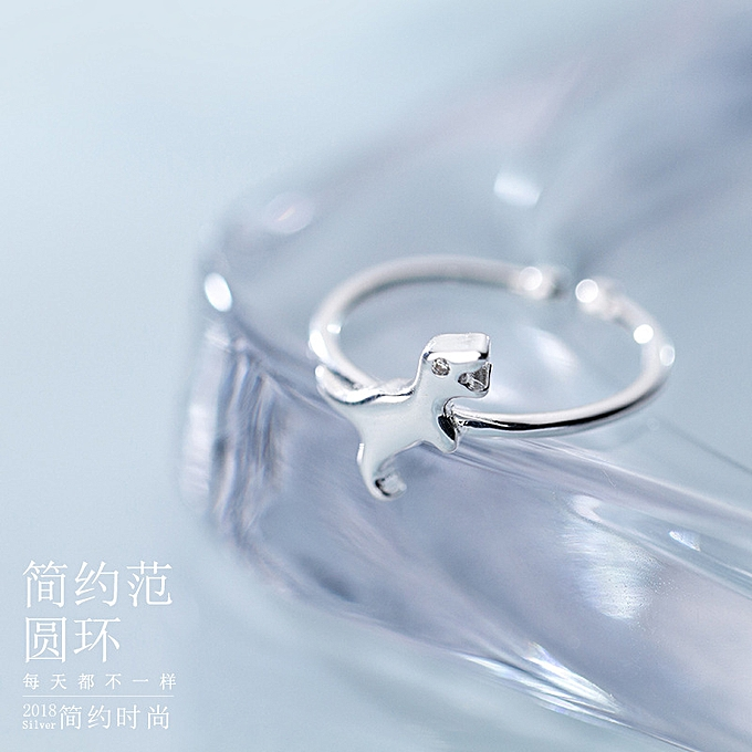 The S925 silver ring female the breeze vogue lovely dinosaur