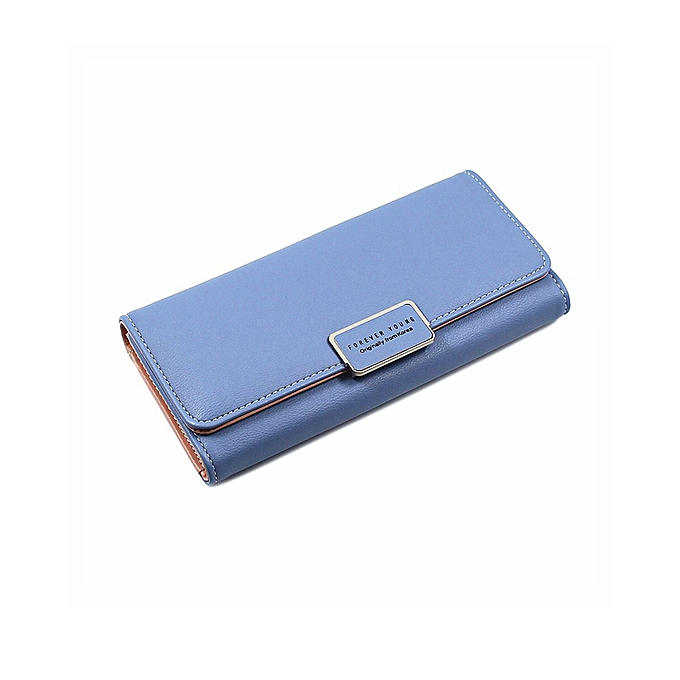 f74c6f3188a Women's Wallet Long Large Capacity Multi-Slot Wallet Buckle Lingge Tri-Fold  Ladies Hand Wallet-Blue