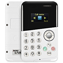 M8 0.96 inch Ultra-thin 4.8mm Card Mobile Phone with Message Bluetooth Alarm-WHITE