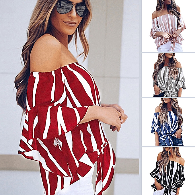7f22c3bad9313b ... New Sexy Women Off Shoulder Chiffon Blouse Striped Print Flare Sleeve  Tie-Hem Casual Summer ...