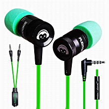 LEBAIQI PLEXTONE G10 In-Ear Headphones Gaming Headset Noise Cancelling Sports Stereo Bass Earphone with Mic - Green