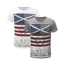 2 pieces Men's Crewneck Short Sleeve T-Shirt Grey and White
