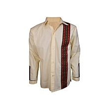 African Print Men's shirt-Cream