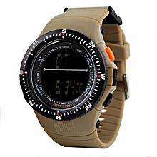0989 Sports Digital LED Back Light Man Quartz Watch Fashion Outdoor Wristwatch - Brown