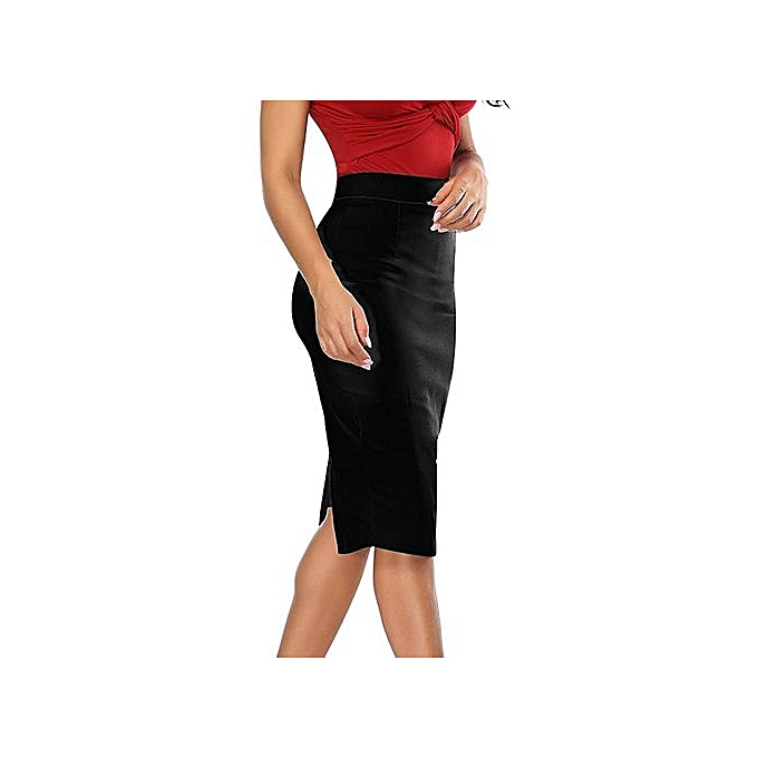 c4a8e5c8d12d Hiaojbk Store Womens Elastic High Waisted Pencil Skirt Stretch Bodycon Below  Knee Skirt-Black