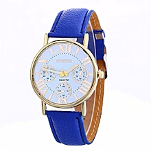 Fohting   Women Creative Geneva Watch Leather Strap Belt Table Watch BU -Blue