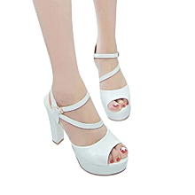 ec37a53768b hiamok Women Solid Peep Toe Hollow Out Thin Heels Sandals High Heeled Shoes  Dark White