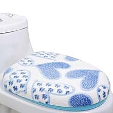 Coral Fleece 2 Piece Set Potty Toilet Cover O Ring Toilet Mat Blue