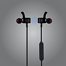 MOVE: Black  Bluetooth Lightweight Stereo Sports Earphones with Built-In Mic, Sweat Resistant, Noise Cancellation and Secure-Fit Design for Gym, Running
