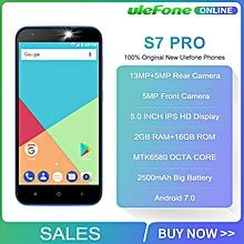 "Ulefone S7 Pro 2GB RAM 16GB ROM 3G WCDMA MTK6580 Quad Core 5.0"" HD 13MP Dual Rear Cam GPS Android 7.0 Mobile Phone"