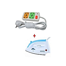 Steam Iron Box + a  FREE 4-way Socket Extension Cable - 1200W - White & Blue
