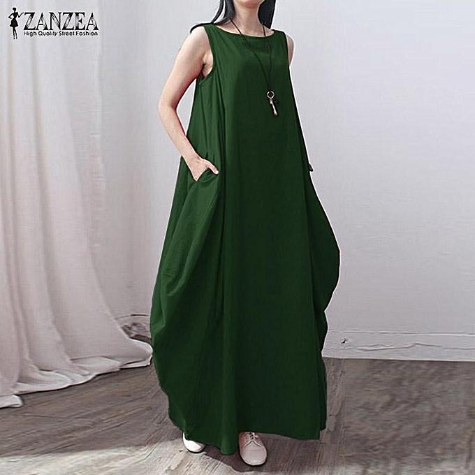 554999efd4eae Casual kaftan Linen Summer Dress Women Elegant Loose Sleeveless O Neck Dress  Cotton Long Maxi Dress